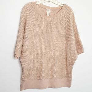 Chico's Eyelash Blush Dolman Sleeve Sweater EUC